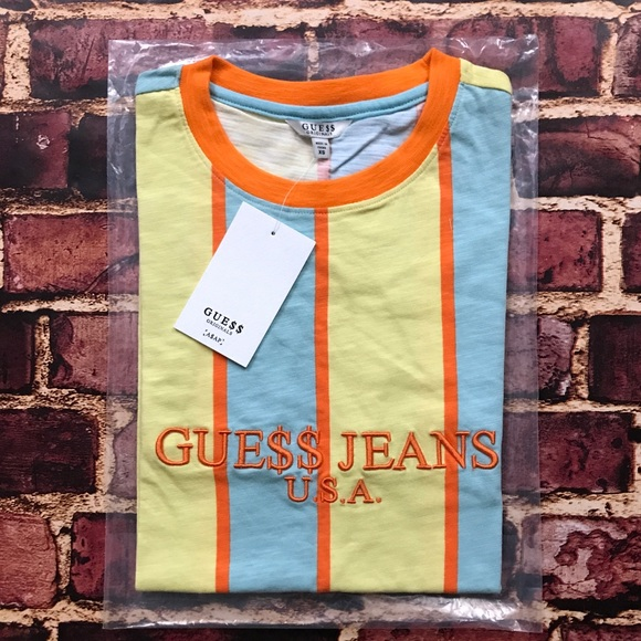 5d5f44c6f1b2 Guess by Marciano Shirts | Asap Rocky Guess Vertical Striped Tee Sun ...